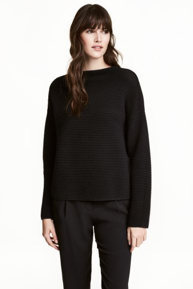 Textured-knit jumper - Black - Ladies | H&M GB