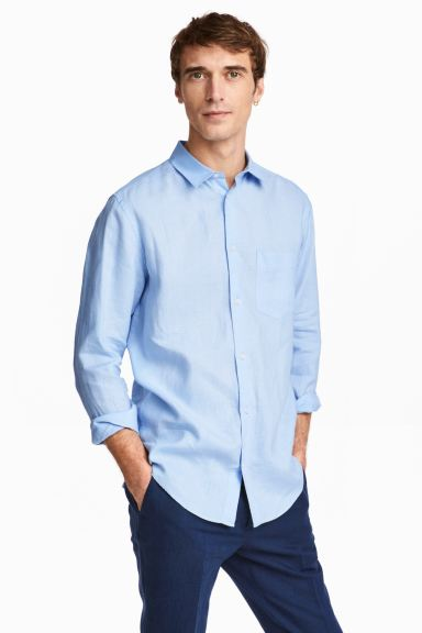 Linen shirt Relaxed fit - Light blue - Men | H&M GB
