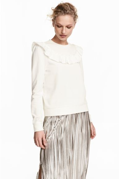 Sweatshirt with a frill - White - Ladies | H&M GB