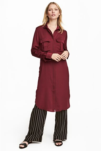 Satin shirt dress - Burgundy - Ladies | H&M GB