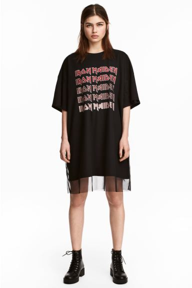 T-shirt dress with mesh - Black/Iron Maiden - Ladies | H&M IE