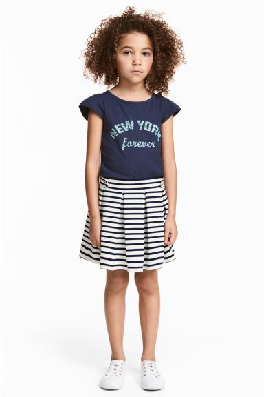 Pleated jersey skirt - White/Dark blue/Striped - Kids | H&M CA