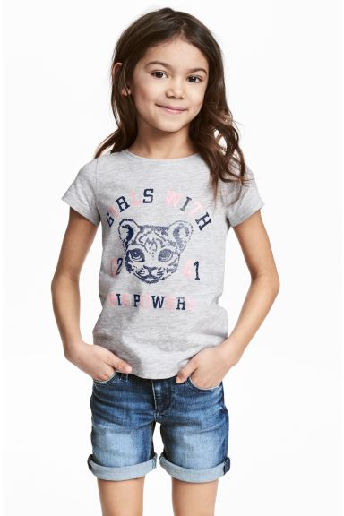 Printed top - Grey/Tiger - Kids | H&M CA