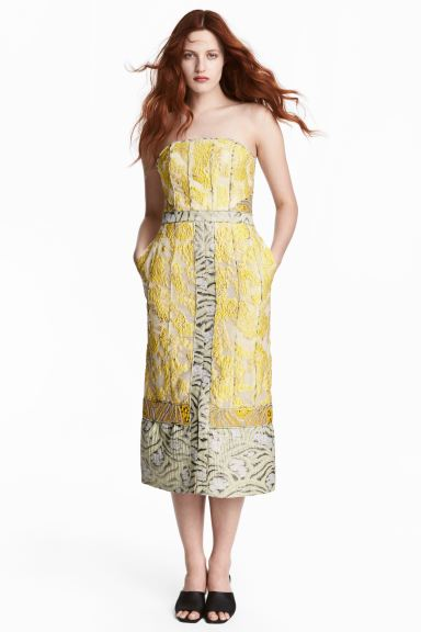 Jacquard-weave dress - Yellow/Patterned -  | H&M GB