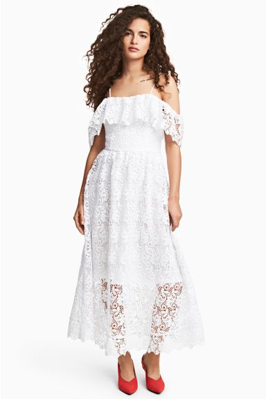 Off-the-shoulder lace dress - White - Ladies | H&M IE
