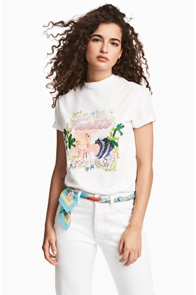 T-shirt with a motif - White - Ladies | H&M GB