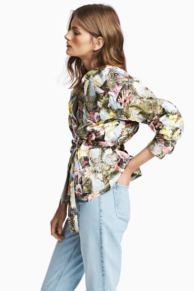 Quilted satin jacket - Light blue/Floral - Ladies | H&M GB
