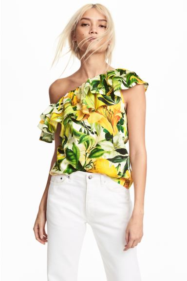 One-shoulder blouse - White/Yellow patterned - Ladies | H&M GB
