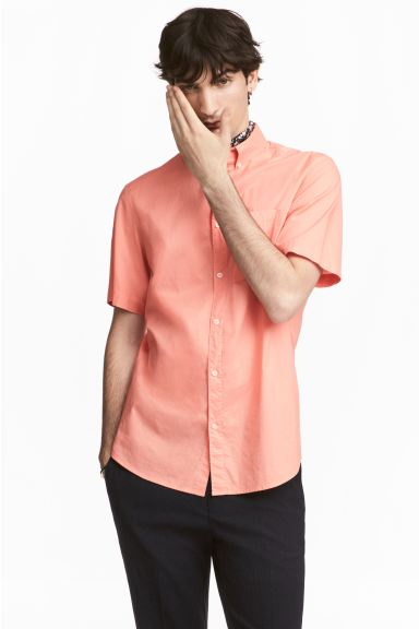 Chemise en coton Regular Fit - Abricot - HOMME | H&M BE
