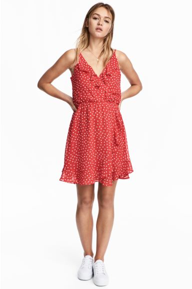 Flounced wrap dress - Red/Spotted - Ladies | H&M GB