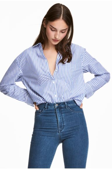 Wide cotton shirt - Blue/White striped - Ladies | H&M GB