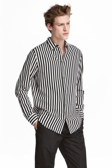 Striped Shirt - Black/white striped - Men | H&M US