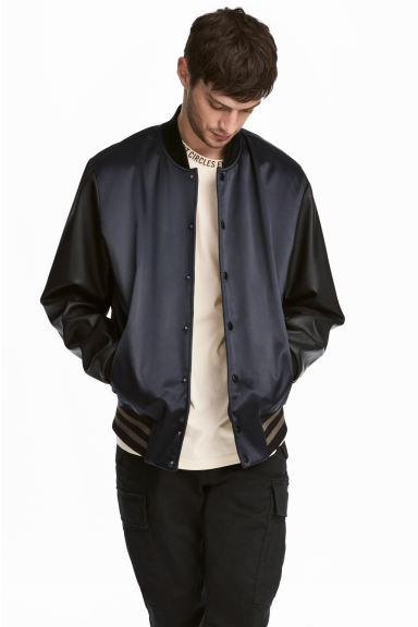Padded baseball jacket - Dark blue/Black - Men | H&M GB