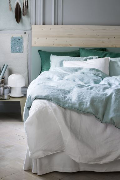 Washed linen duvet cover set - Mint green - Home All | H&M GB