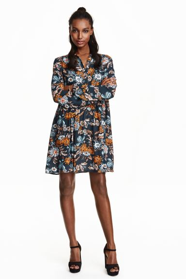 Patterned dress - Dark blue/Floral - Ladies | H&M GB