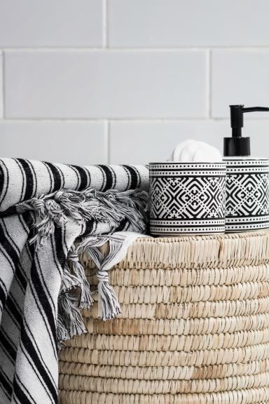 Stoneware box - White/Black patterned - Home All | H&M GB