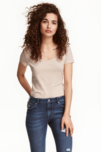T-shirt in jersey - Beige chiaro mélange - DONNA | H&M IT