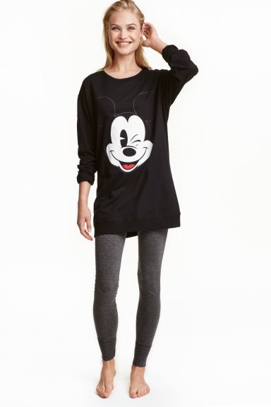 Lounge set top and leggings - Black/Mickey Mouse - Ladies | H&M GB
