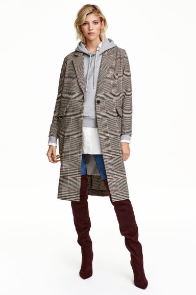 Dogtooth-patterned coat - Light beige - Ladies | H&M GB