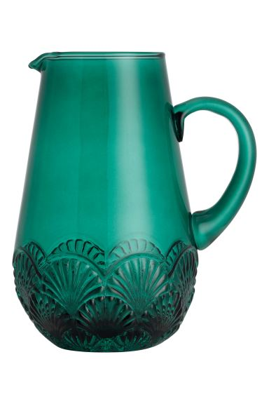 Relief-patterned glass carafe - Petrol - Home All | H&M GB