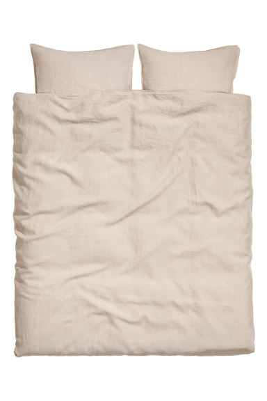 Bettwäsche aus Washed Leinen - Leinenbeige - Home All | H&M AT
