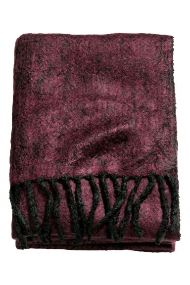 Herringbone-patterned blanket - Burgundy - Home All | H&M GB
