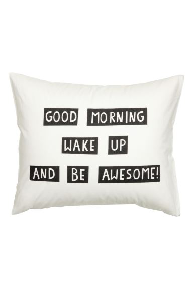 Pillowcase with text print - White - Home All | H&M GB