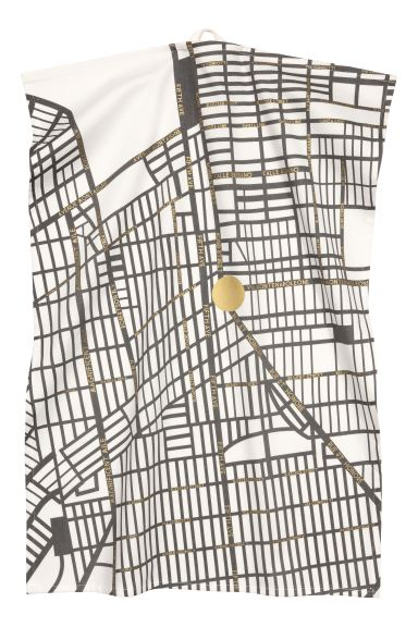Patterned tea towel - White/City Map - Home All | H&M GB