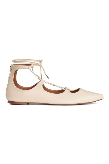 Pointed flats with lacing - Light beige - Ladies | H&M GB