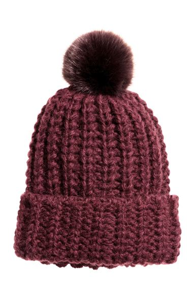 Pompom hat - Burgundy - Ladies | H&M GB