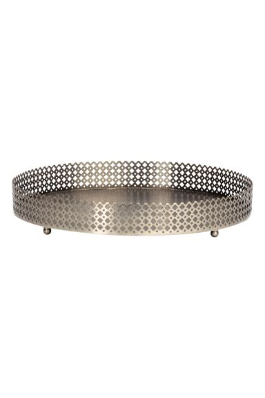 Round metal tray - Silver - Home All | H&M GB