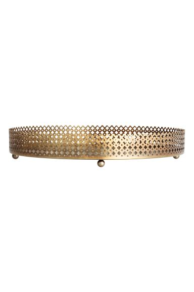 Round metal tray - Gold - Home All | H&M GB