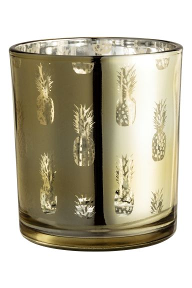 Glass tealight holder - Gold/Pineapple - Home All | H&M GB