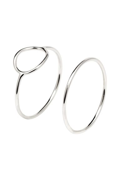 2-pack silver-plated rings - Silver - Ladies | H&M GB