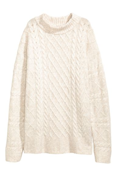 Cable-knit jumper - Natural white marl - Ladies | H&M GB