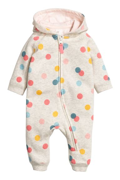 Sweatshirt all-in-one suit - Light beige/Spotted - Kids | H&M GB