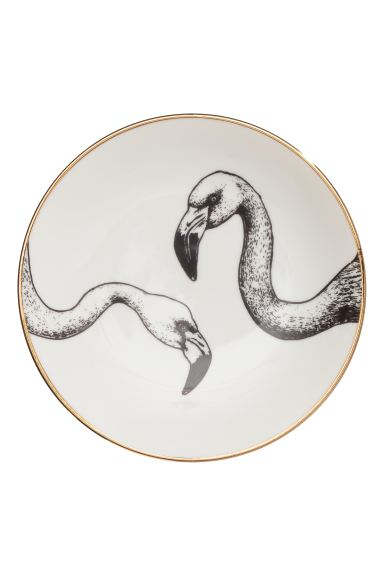 Printed porcelain plate - White/Flamingo - Home All | H&M GB