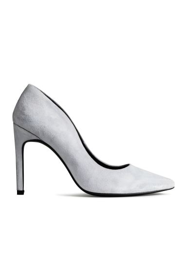 Suede court shoes - Light grey - Ladies | H&M GB