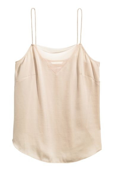 Strappy top with mesh detail - Light beige - Ladies | H&M CA