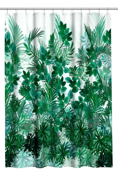 Printed shower curtain - White/Leaves - Home All | H&M GB