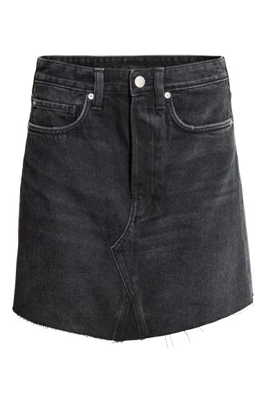 Short denim skirt - Black denim - Ladies | H&M IE