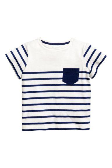 Striped T-shirt - White/Dark blue/Striped - Kids | H&M GB