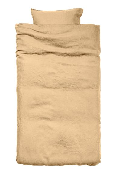 Washed Linen Duvet Cover Set - Light mustard yellow - Home All | H&M CA