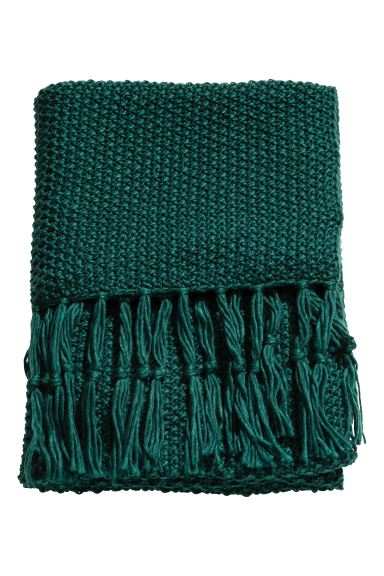 Moss-knit blanket - Dark green - Home All | H&M GB