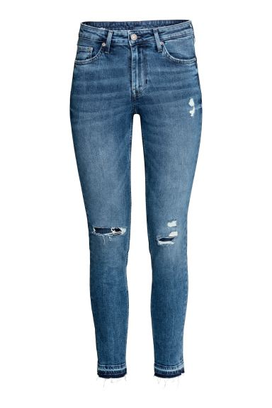 Skinny Regular Ankle Jeans - Denim blue trashed - Ladies | H&M GB