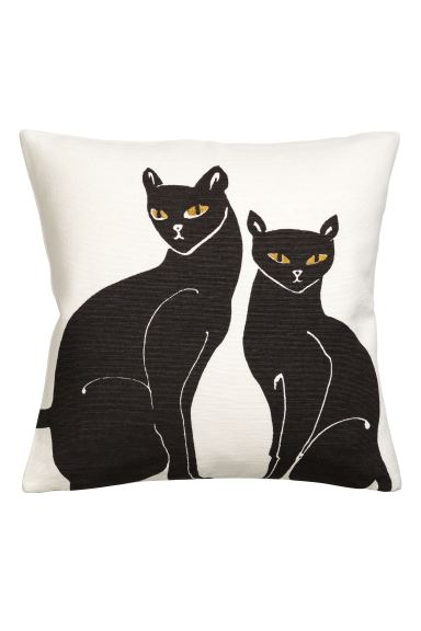 Embroidered cushion cover - White/Cats - Home All | H&M GB