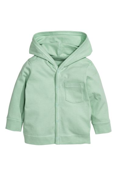 Jersey hooded cardigan - Mint green - Kids | H&M