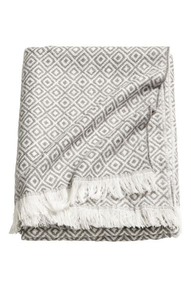 Patterned wool-blend blanket - Grey/White - Home All | H&M GB