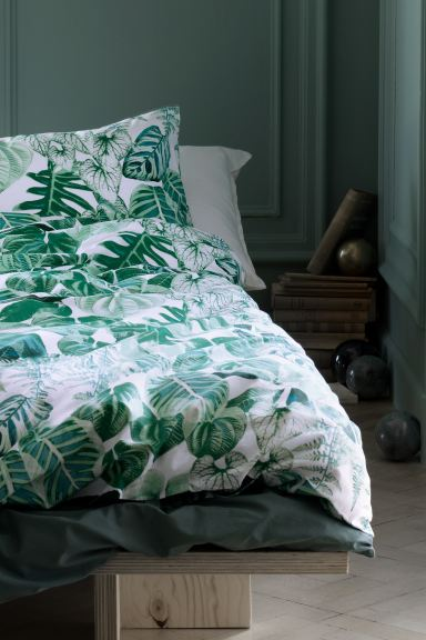Leaf-patterned duvet cover set - Green - Home All | H&M GB
