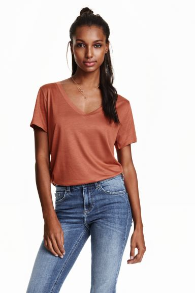 V-neck top - Rust - Ladies | H&M GB
